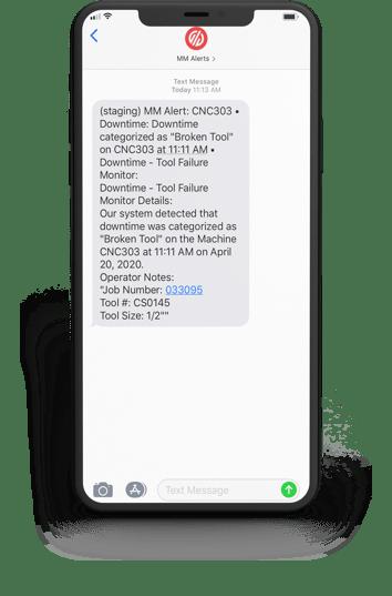 iPhone Alert Notifying of Broken Tool