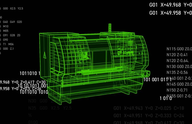 A Digital Twin Graphic of a CNC Machine.
