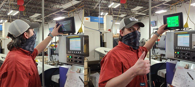 Production Data at the Machine and Operator Giving a Thumbs Up.