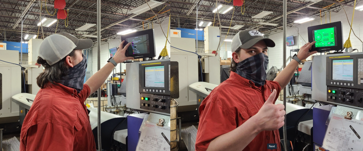 Manufacturing Engineer from BC Machining Interacting with MachineMetrics Template