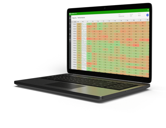 Table of Data on Laptop