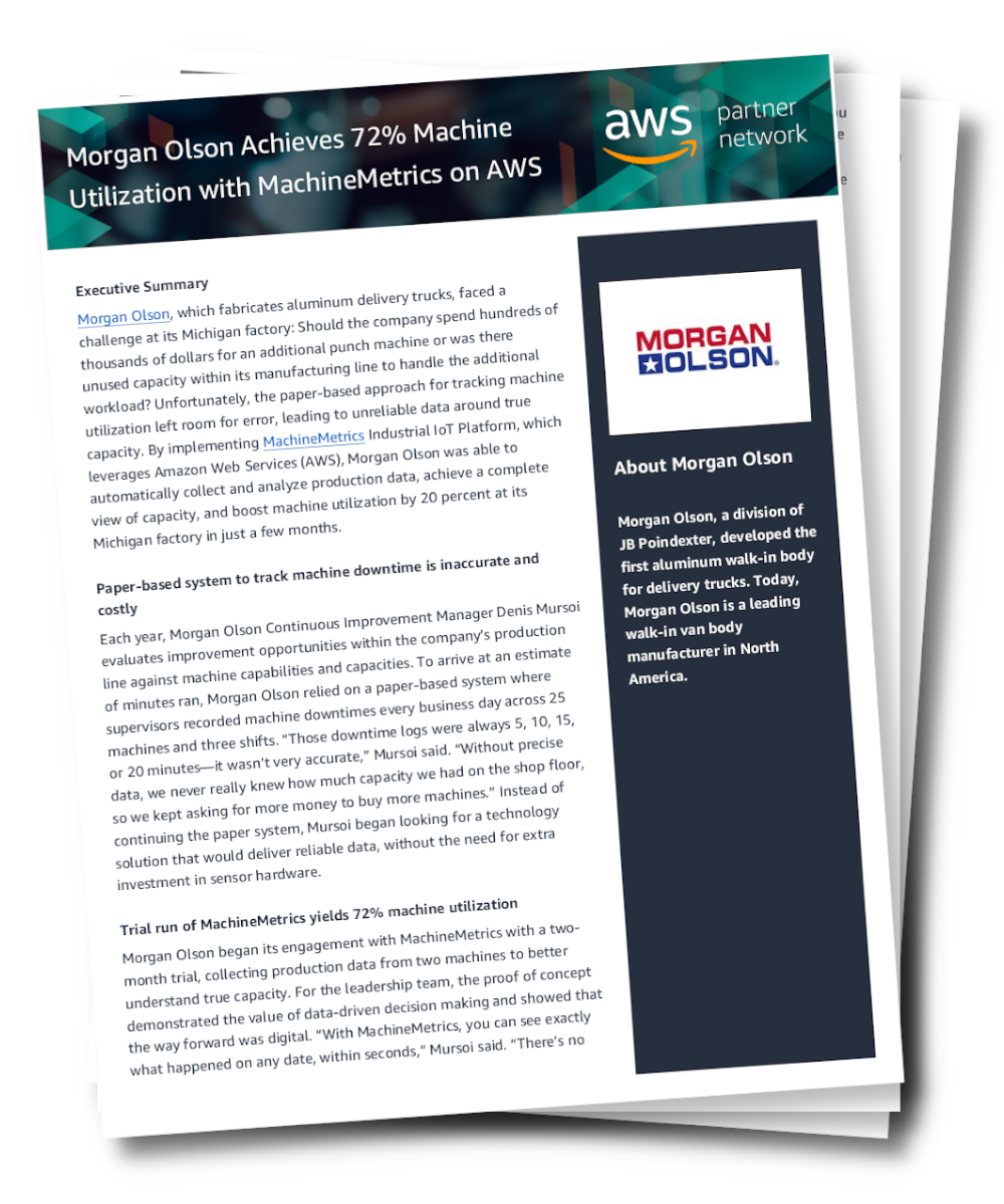 Morgan Olson Achieves 72% Machine Utilization with MachineMetrics on AWS